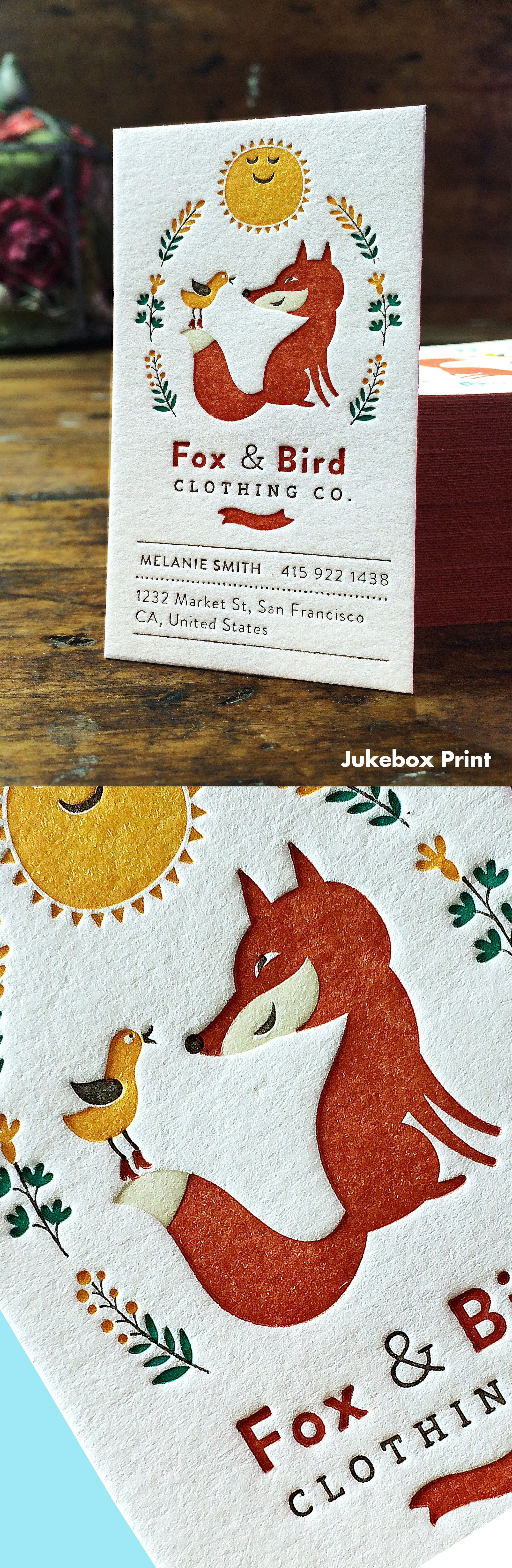 Cute Letterpress Business Cards produced on Cotton Paper. Printed by ...