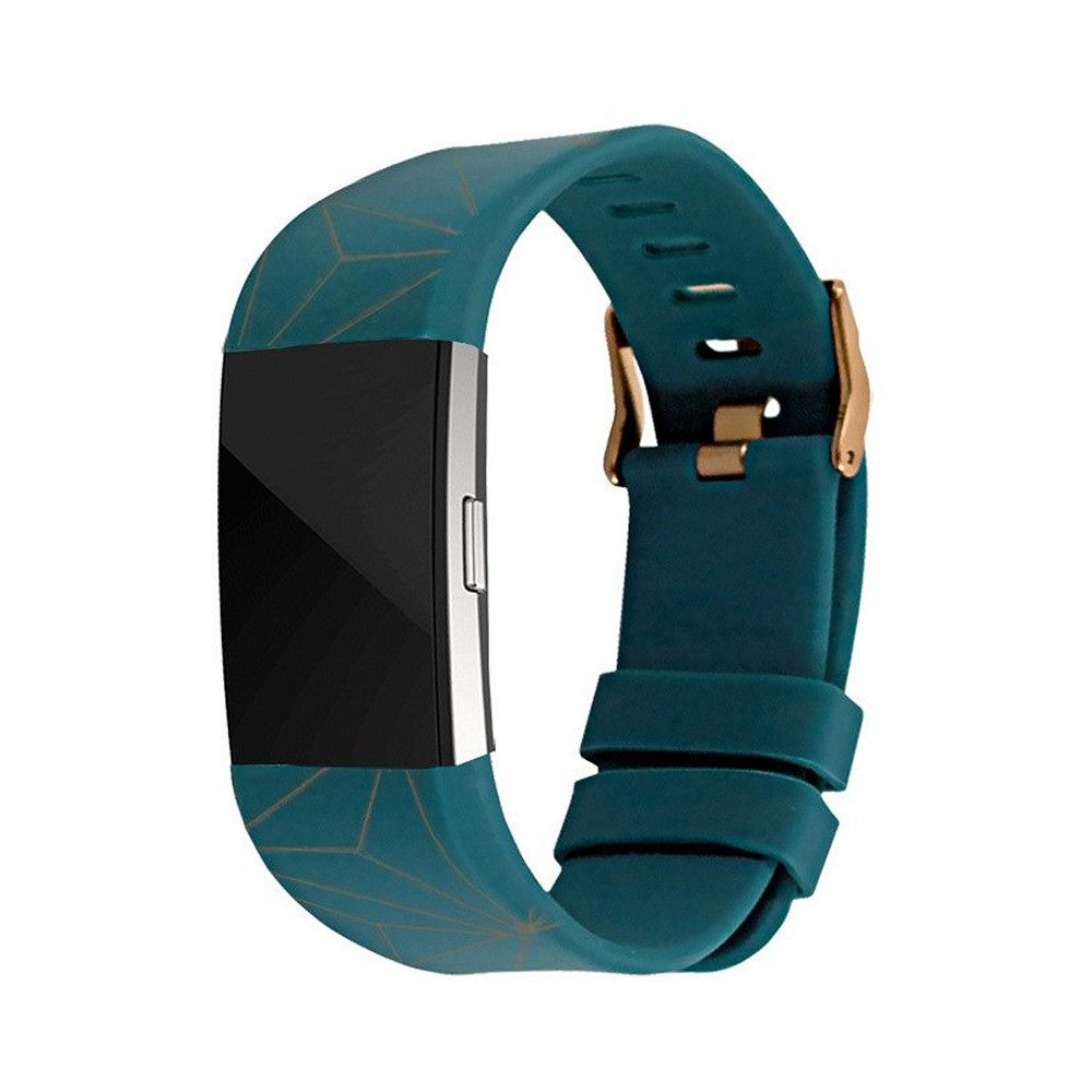 End Scene Line Geo Fitbit Charge 2 Band - Green Copper, Dark Green