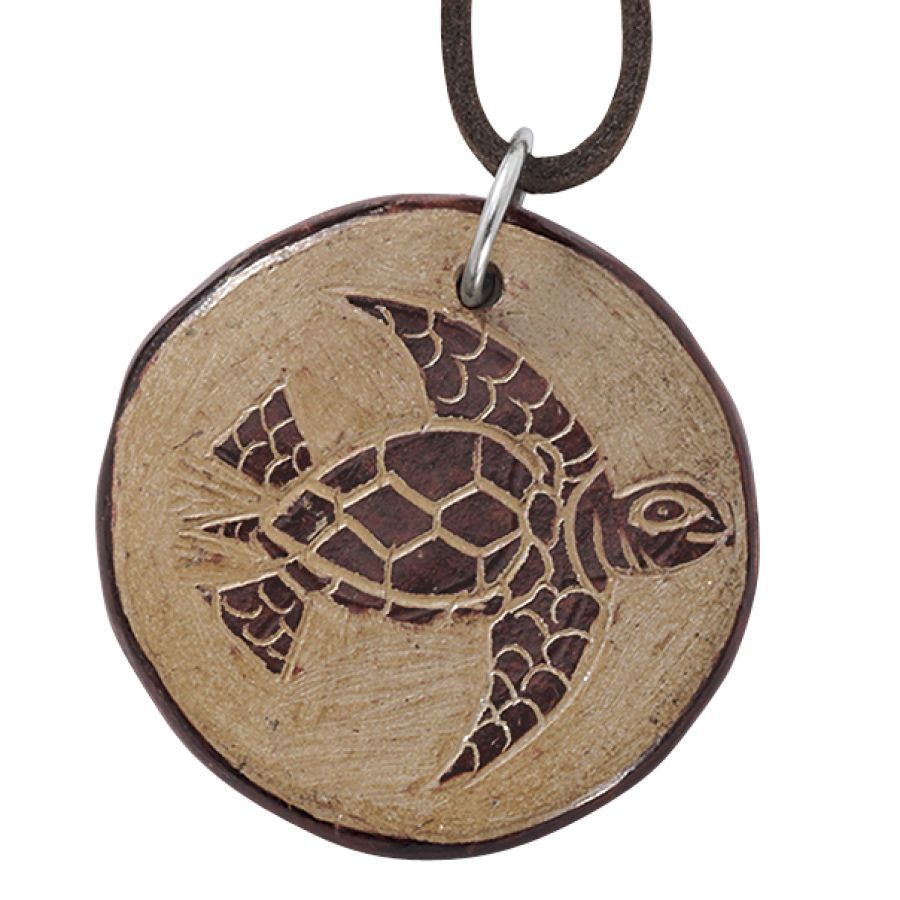 $29.98 Handcrafted Ceramic Turtle Pendant 18 Inch Cord - Earrings, Necklaces, Rings, Bracelets, Pendants and More :: Unique Jewelry at Affordable Prices | Natures Jewelry