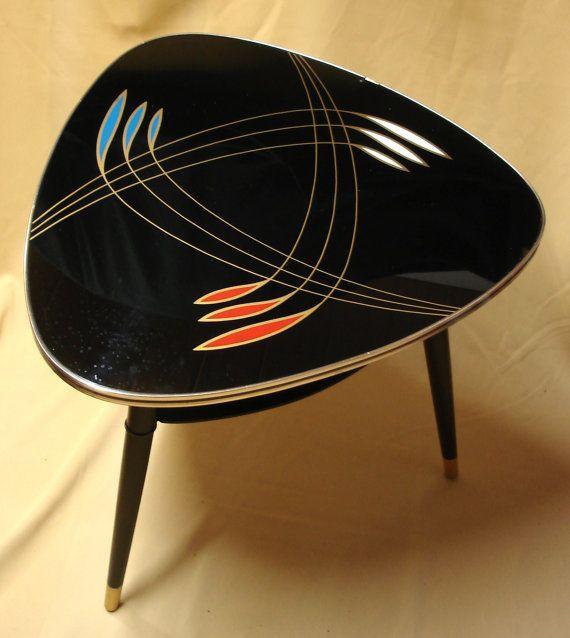 Vintage Triangle Tripod COFFEE TABLE, Black Glass, 60s