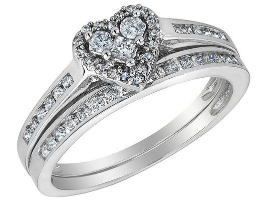 Diamond Heart Engagement Ring and Wedding Band Set 1/2 Carat (ctw) in 10K White Gold  this But I would #like bigger stones. #hint Hint lol