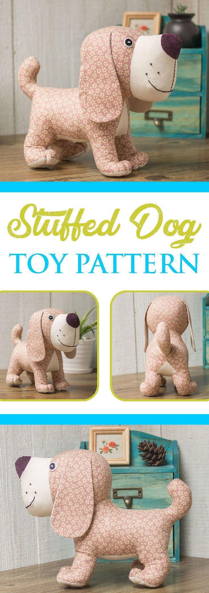 Stuffed Dog Toy Pattern | Soft Plush Animal Sewing Pattern to Sew