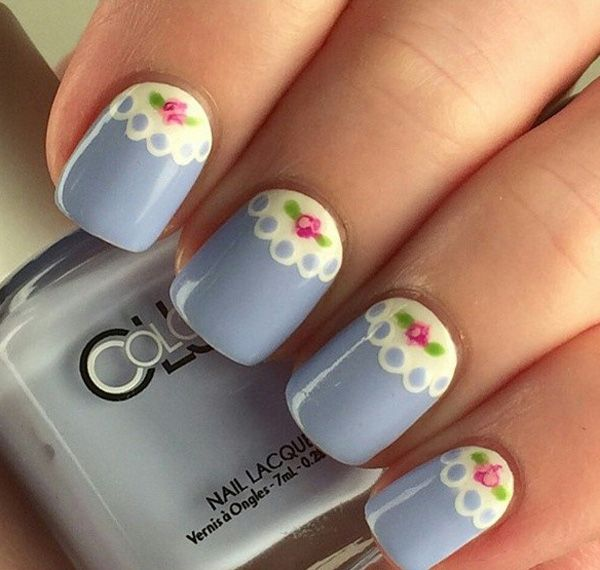 Lovely spring nail art ideas 2017 spring nails lace design and gray blue lace inspired spring nail art design the lace design combined with the spring prinsesfo Images