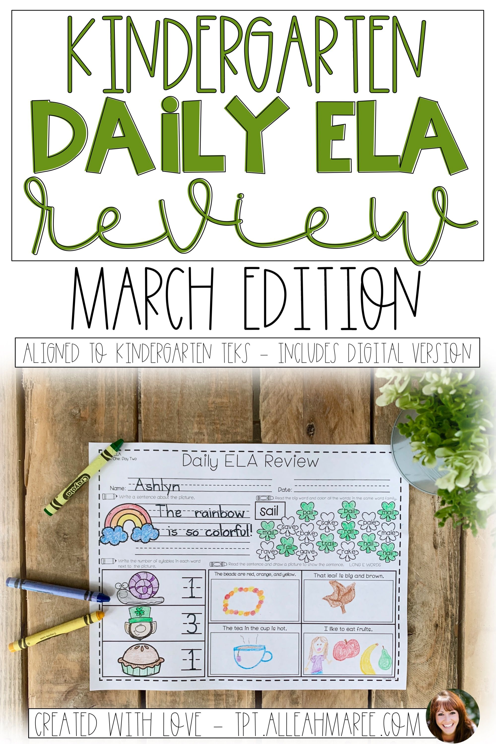 Kindergarten Daily Ela Review For March