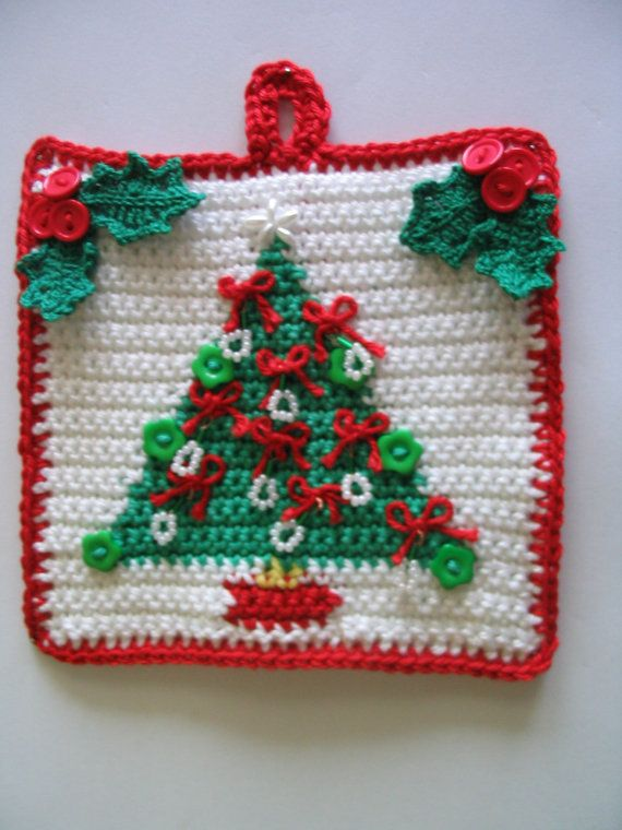 Christmas Tree Potholder Pattern Instant Download Christmas Crochet Patterns Holiday Crochet Potholder Patterns