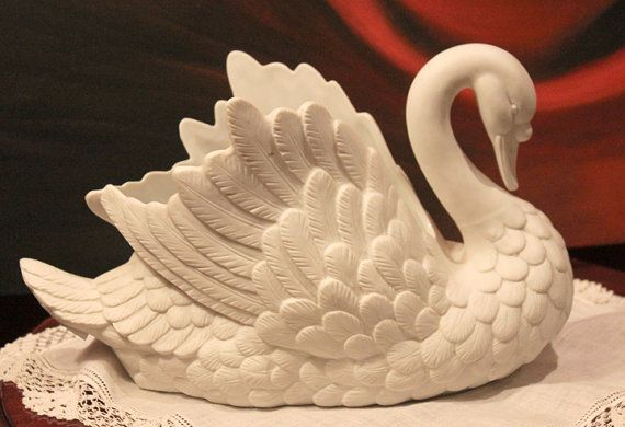 Swan Shaped Planter.  White Bisc Porcelain by AnythingDiscovered