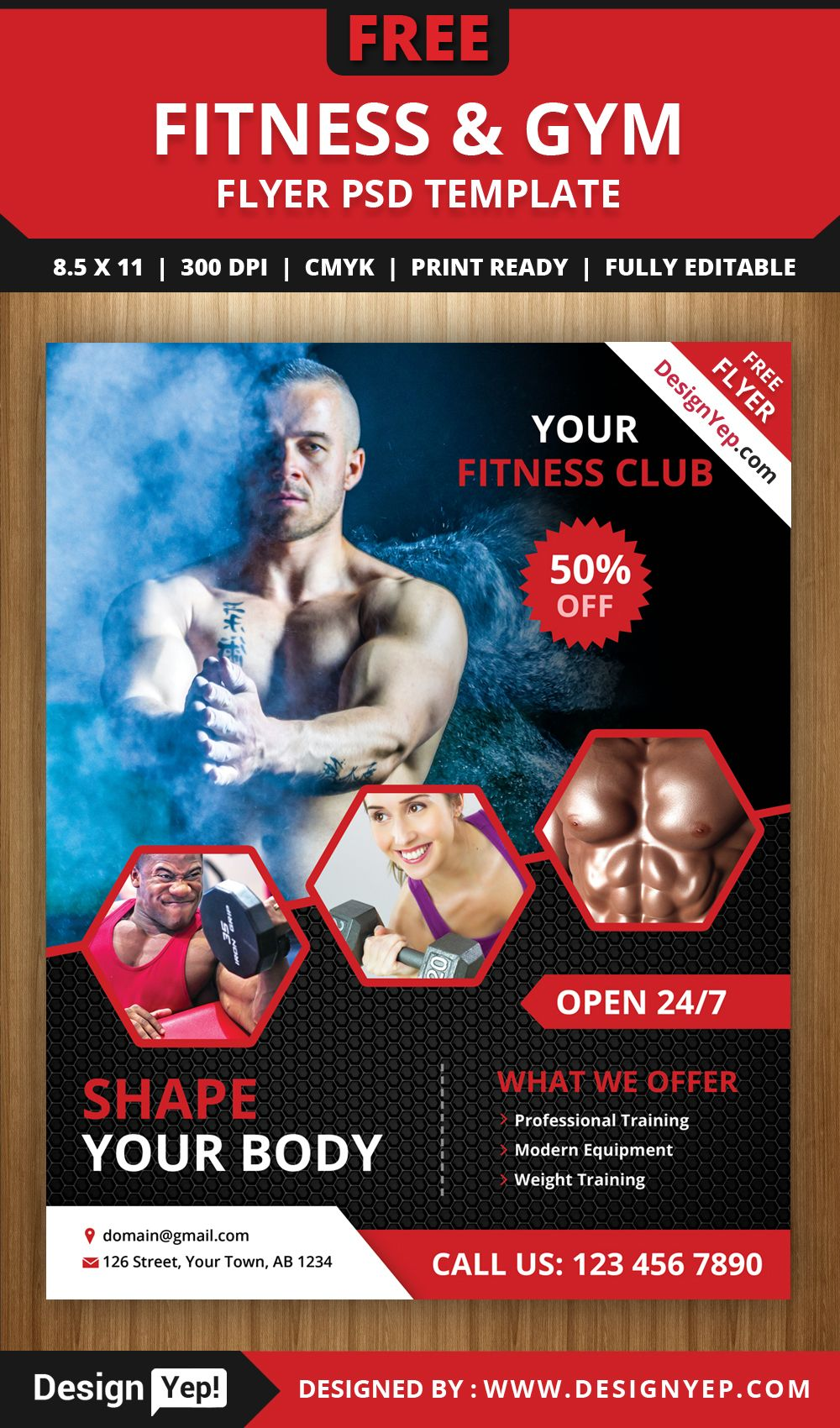 Free Fitness And Gym Flyer Psd Template Free Gimnasio Optimismo