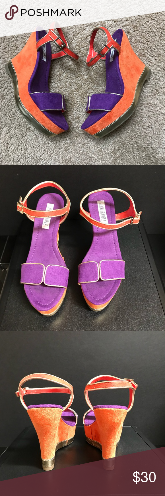 b067b2d9e09 Jennifer Lopez wedge sandals Vibrant orange and purple colors with gold  detail. Jennifer Lopez Shoes Wedges