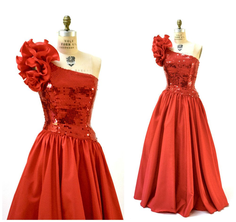 Vintage 80s Party Dress Sequin Evening Gown in Red Small Medium ...