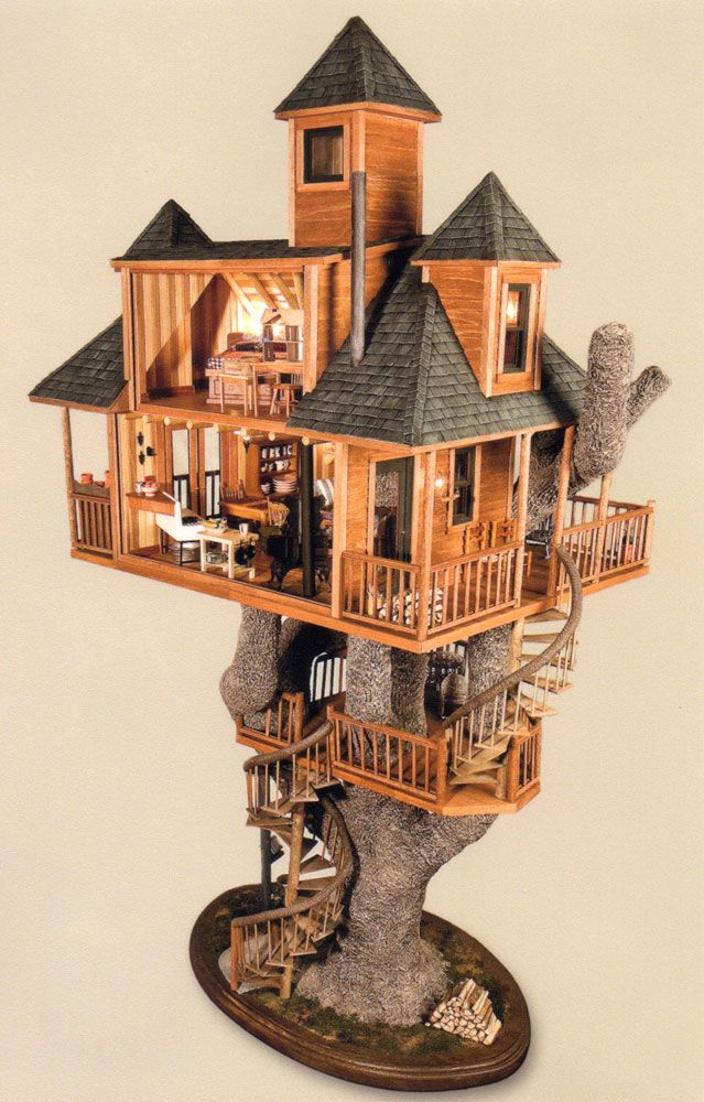 This reminds me of a fairy house I'd seen a few years back. It's simply magical. #dollhouses