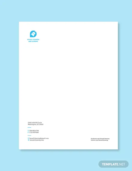 Cleaning Company Letterhead Template Free Pdf Word Doc Psd Indesign Apple Mac Pages Illustrator Publisher Company Letterhead Template Free Letterhead Template Word Company Letterhead