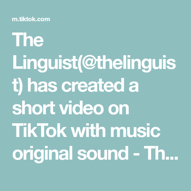 The Linguist Thelinguist Has Created A Short Video On Tiktok With Music Original Sound The Linguist Thank You Thanky The Originals How To Get Rich Video