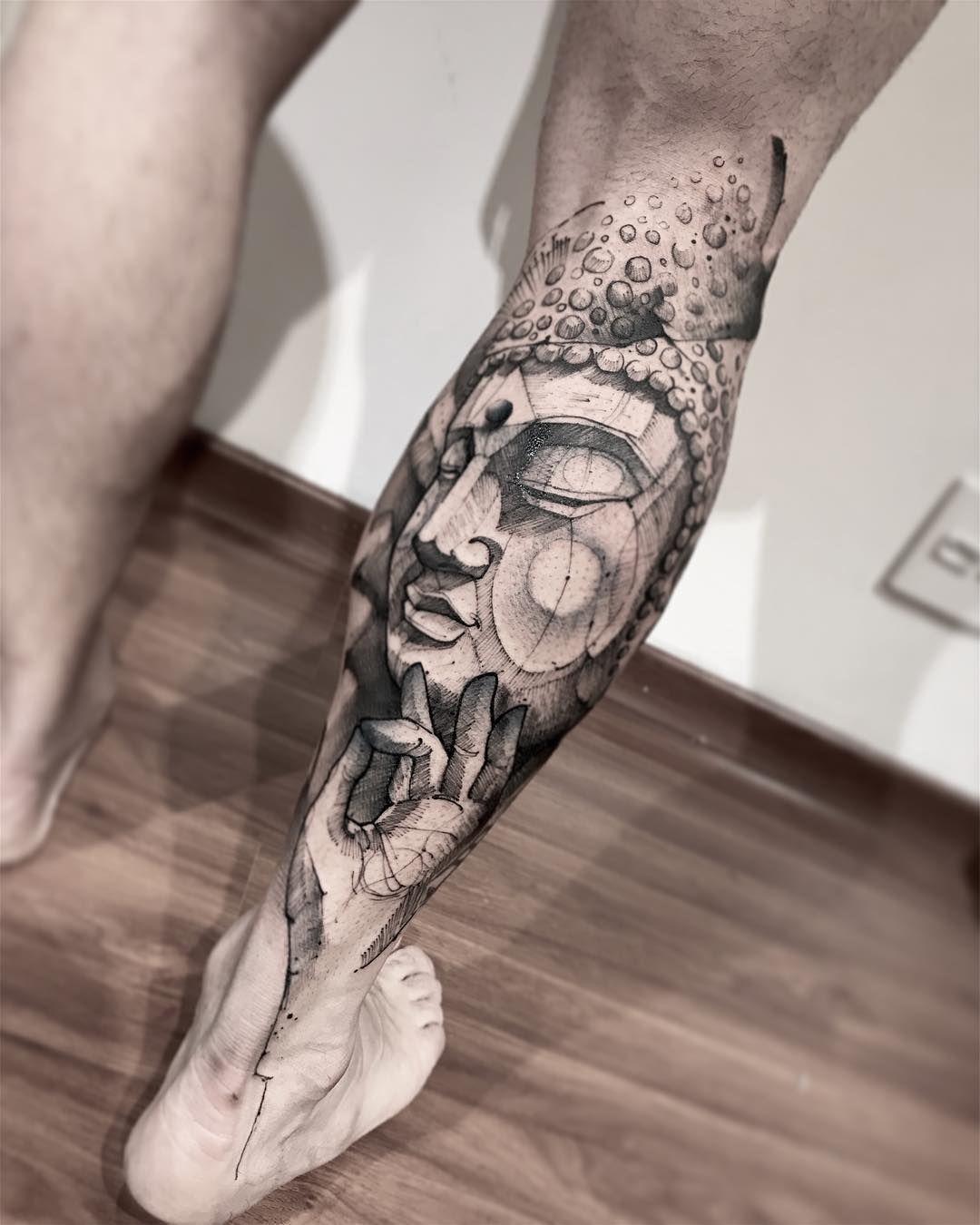Lincoln Lima скетч татуировки будда Tatuagem Asas Tatuagem