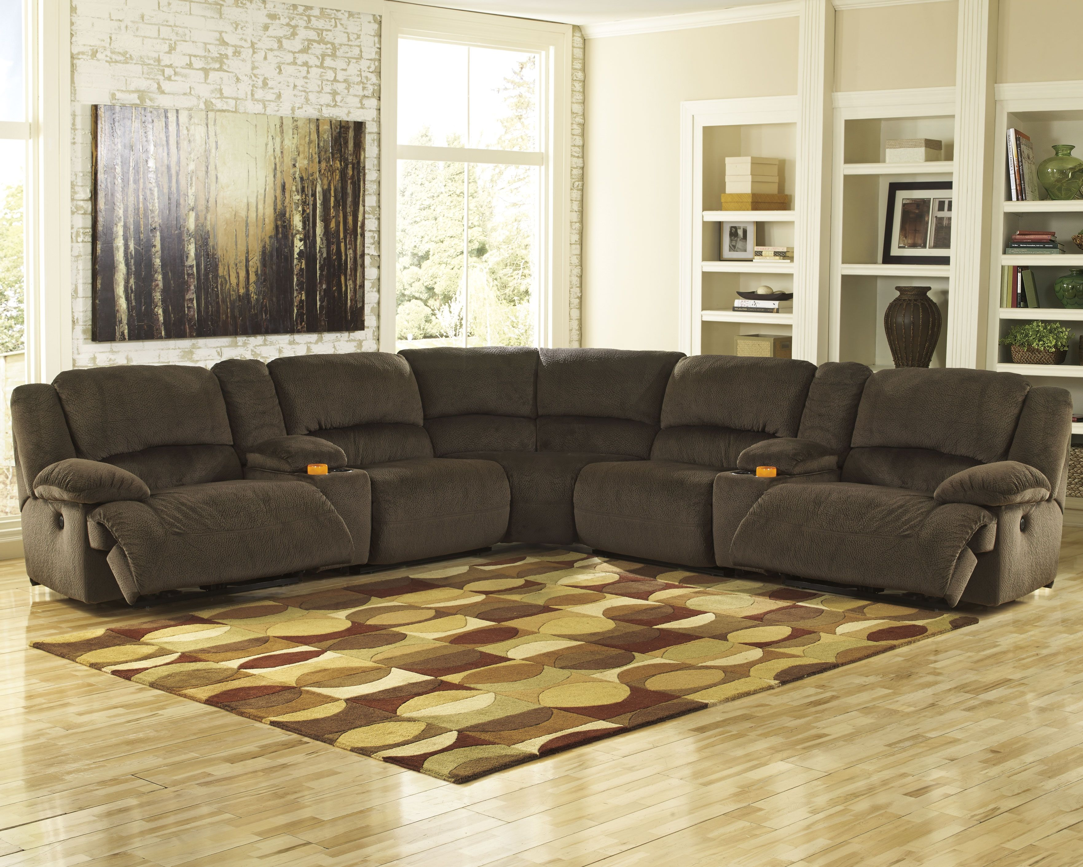 Toletta 7 Piece Reclining Sectional Chocolate Products In