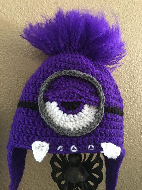 Handmade crochet evil purple minion beanie with teeth, ear flaps ...