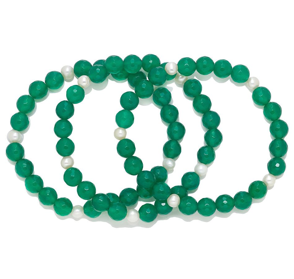 Set Of 3 Green Agate & Freshwater Pearl Stretch Bracelets, Pearl Lustre And  Bracelets From