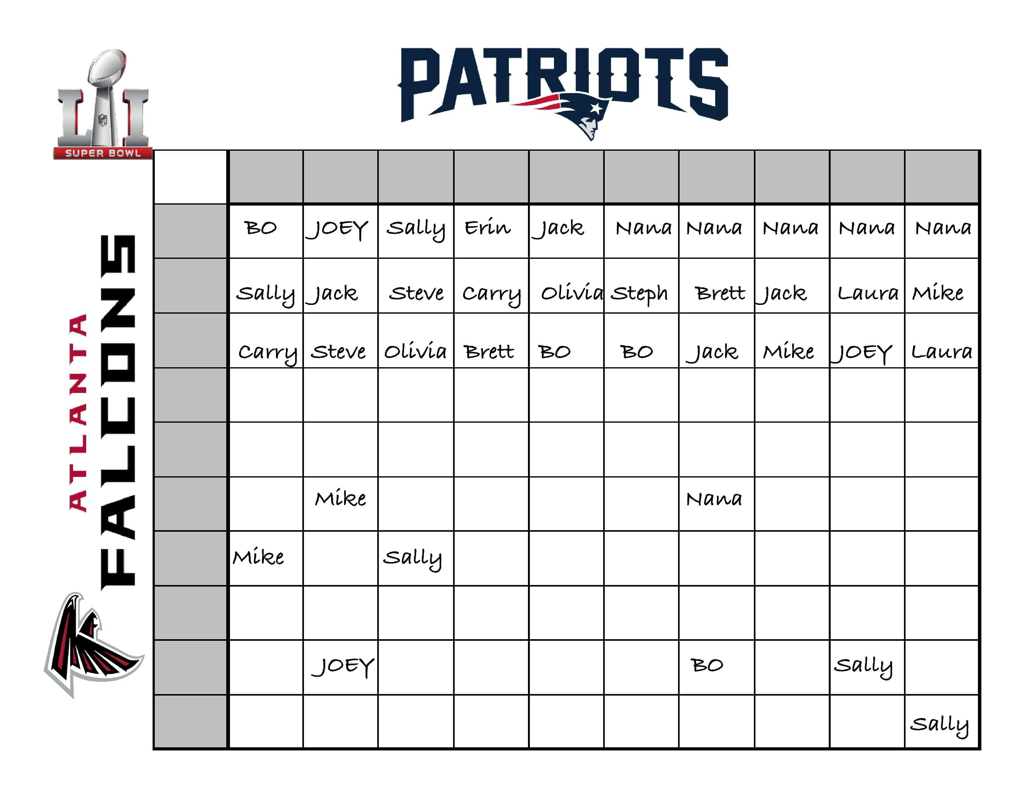 An Easy Fun Way To Create A Super Bowl Betting Chart For