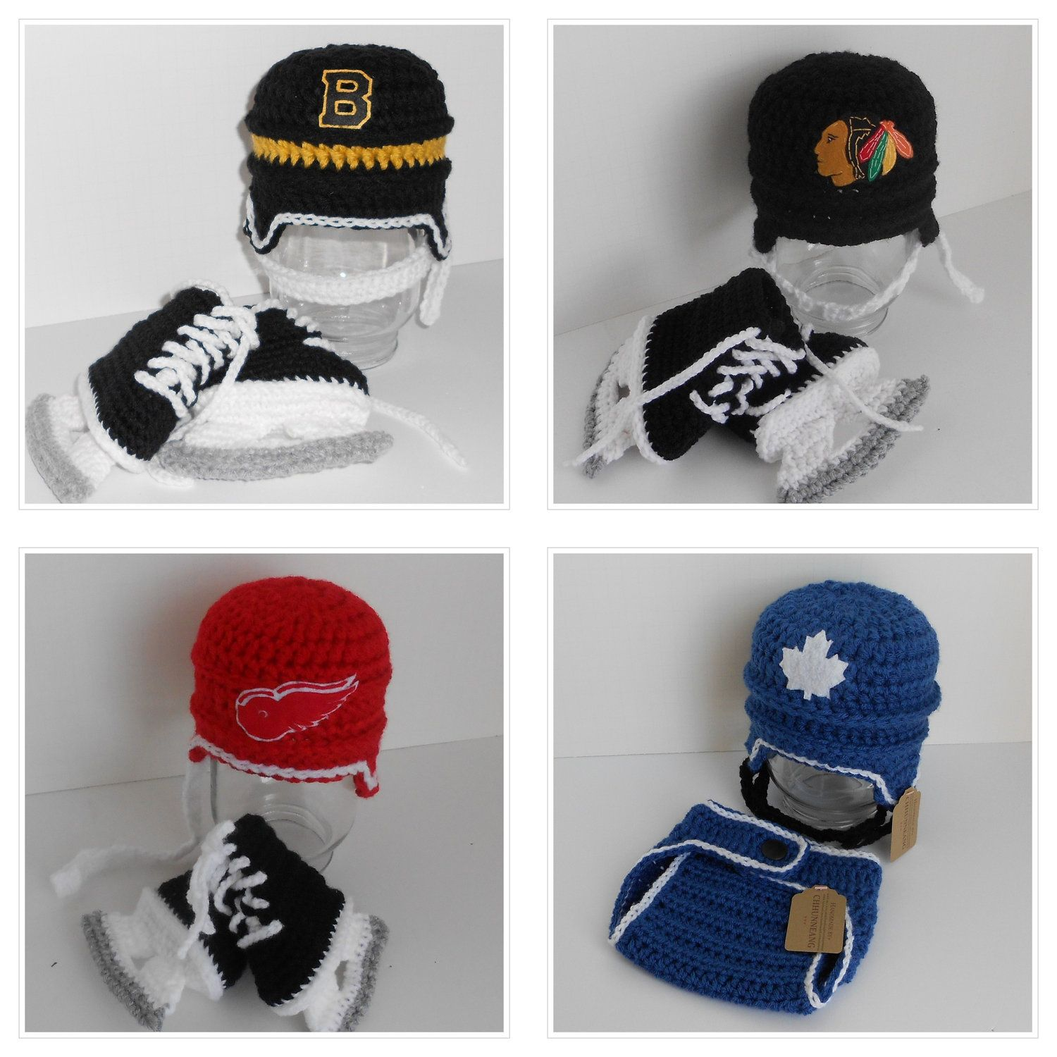 Crochet Baby Team Hockey Helmet and Skates Set. | Been there, DONE ...