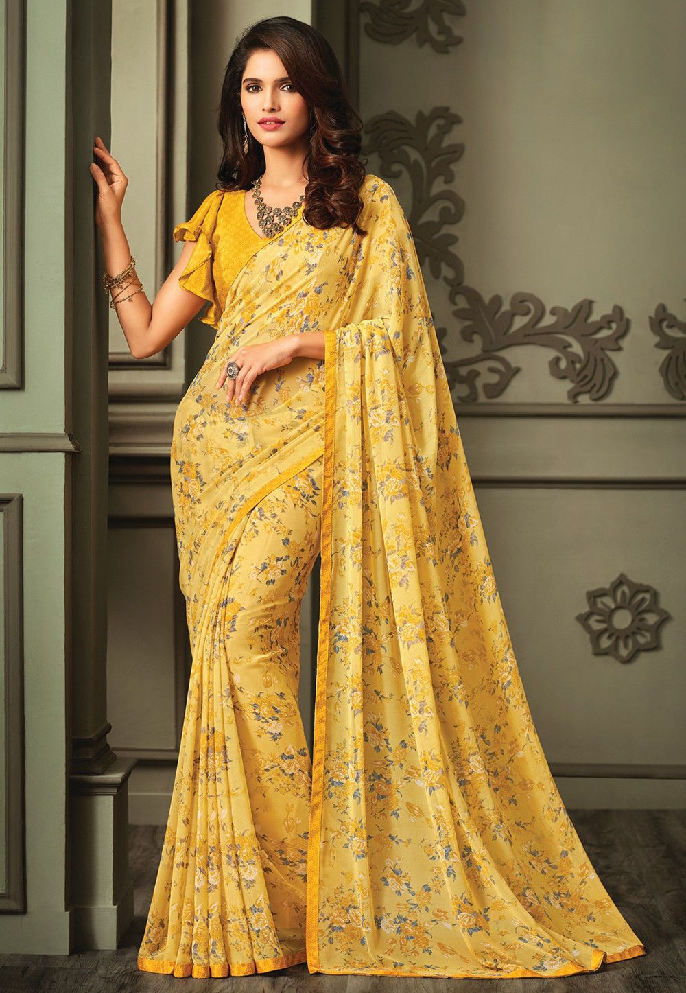 12ac66ca748 Buy online Printed Georgette Saree in Yellow now