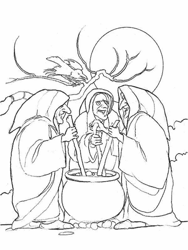3 witches coloring page black white - Google Search ...
