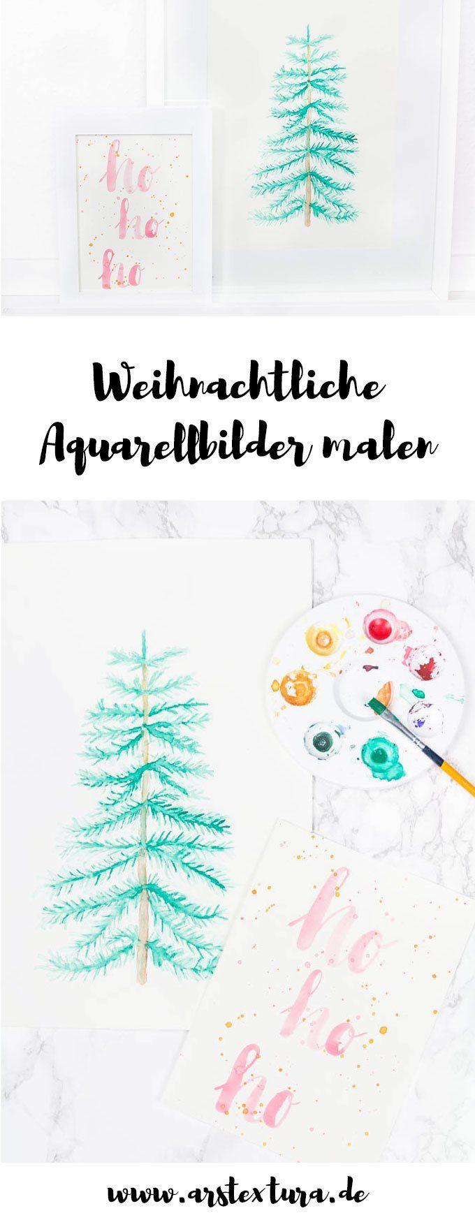 4 Weihnachtliche Aquarellbilder Aquarellbilder Weihnachten