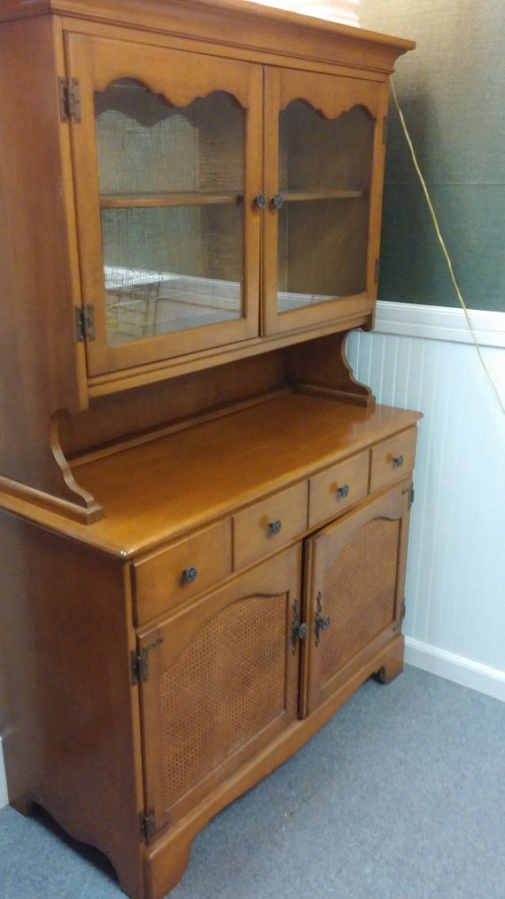 Maple Hutch Buffet Sideboard With Glass Doors On Top Made By St Johns Of Cadillac Michigan