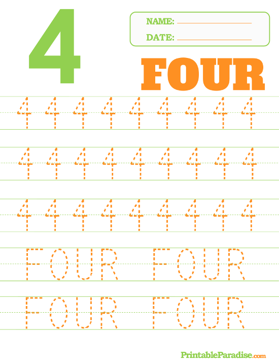 Printable Number 4 Tracing Worksheet Voorskool Tracing
