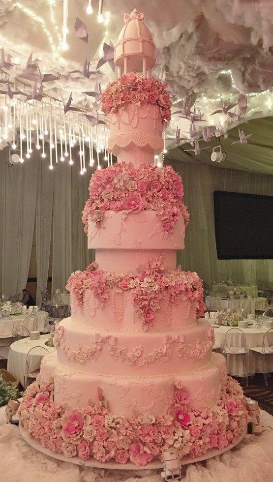 Pin On Wedding Cakes Pink White Some Peach Wedding Cakes