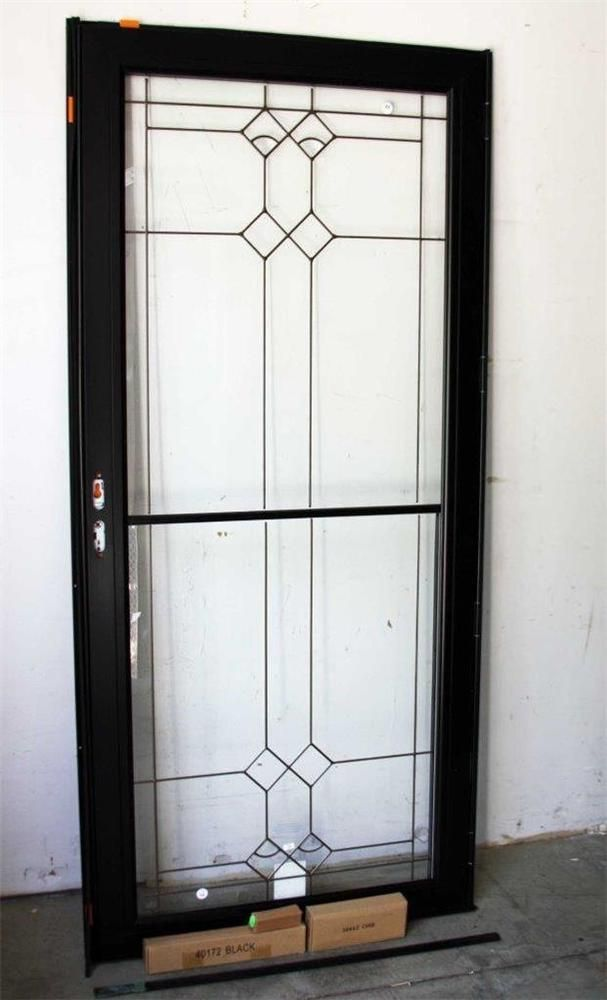 andersen storm door 36x80 black decorative glass rh