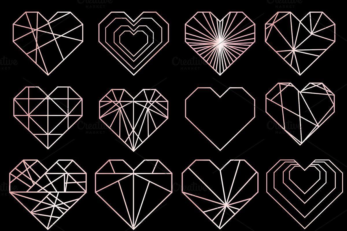 Rose Gold Geometric Heart Logos Icon Рисунки, Татуировки