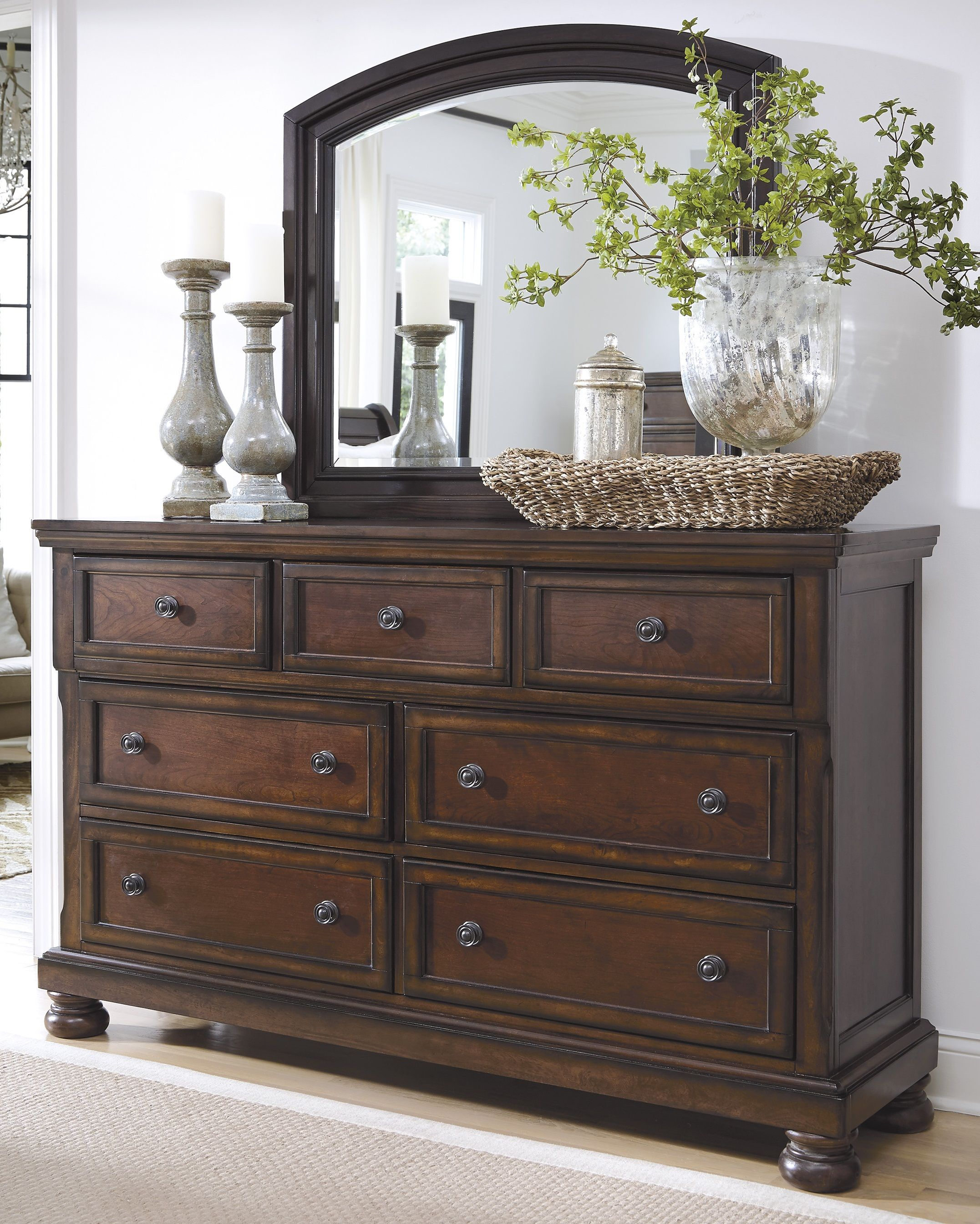 Renaissance  Triple Dresser & Mirror  B6973136 Dressers Cool Ashley Bedroom Dressers Design Ideas