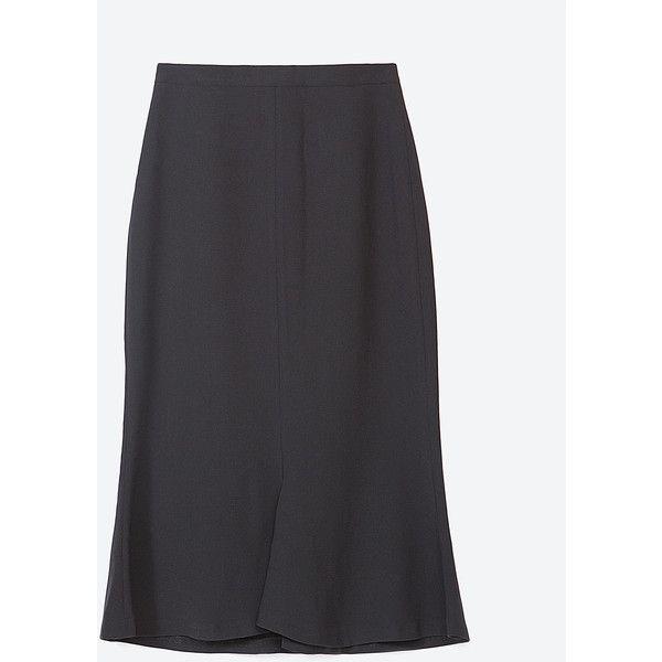 Zara Flared Skirt ($50) ❤ liked on Polyvore featuring skirts, black, black skirt, black circle skirt, flared skirt, black knee length skirt and black skater skirt