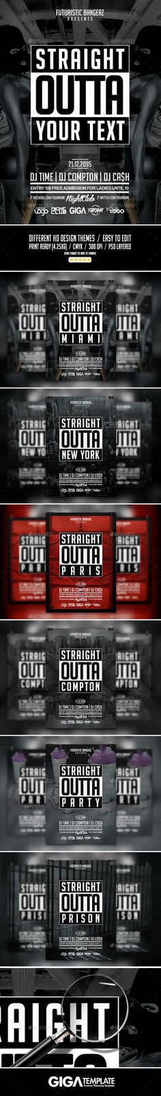Straight Outta Party  HipHop Flyer Psd Template