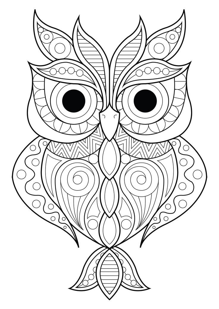Owl Simple Patterns 2 Owl With Various Different Patterns From The Gallery Owls Artist Owl Coloring Pages Animal Coloring Pages Mandala Coloring Pages