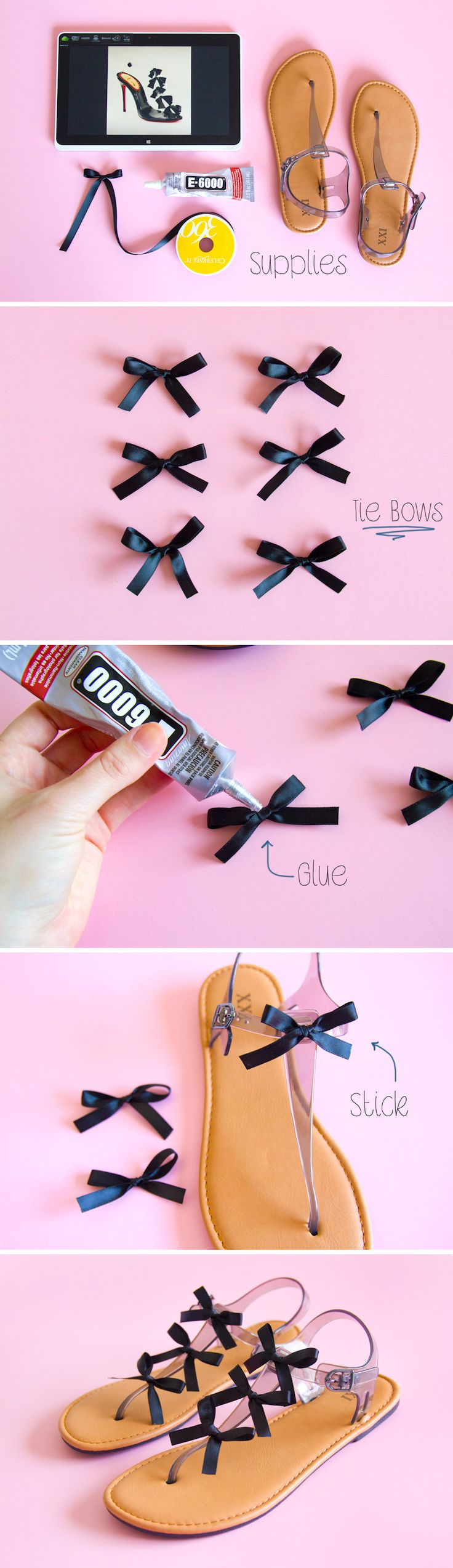 DIY Shoe Tutorial - Make your own bow sandals. More shoe DIY here: http://www.sewinlove.com.au/2015/10/24/make-diy-lace-up-flats/