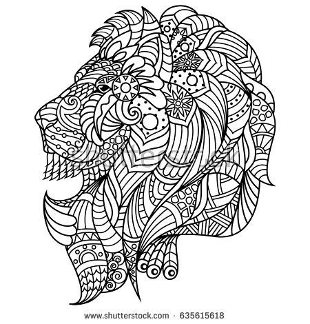 Lion Coloring Book Illustration For Adults