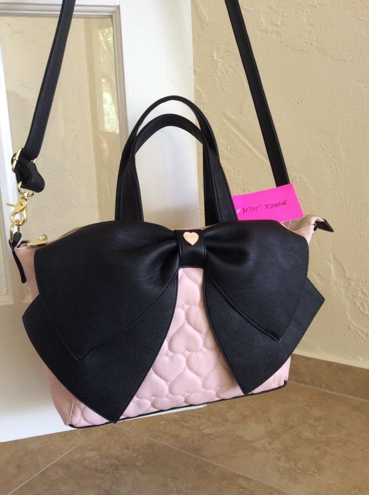032a70847600 Betsey Johnson Bow Nanza Satchel Quilted Hearts Blush Pink   Black BR21090   BetseyJohnson  Satchel