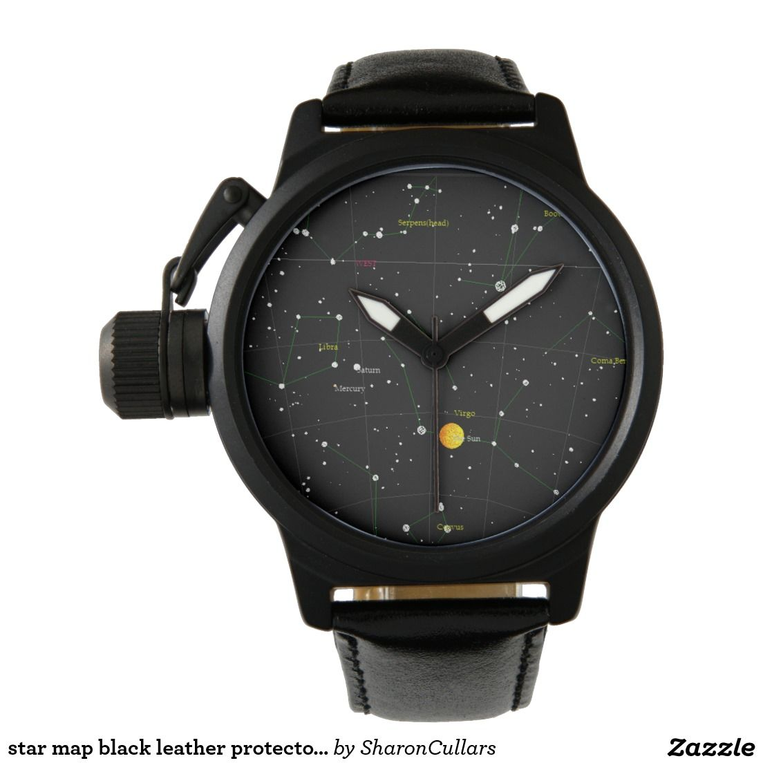 Star Map Black Leather Protector Watch DeSign Watches - Star map watch