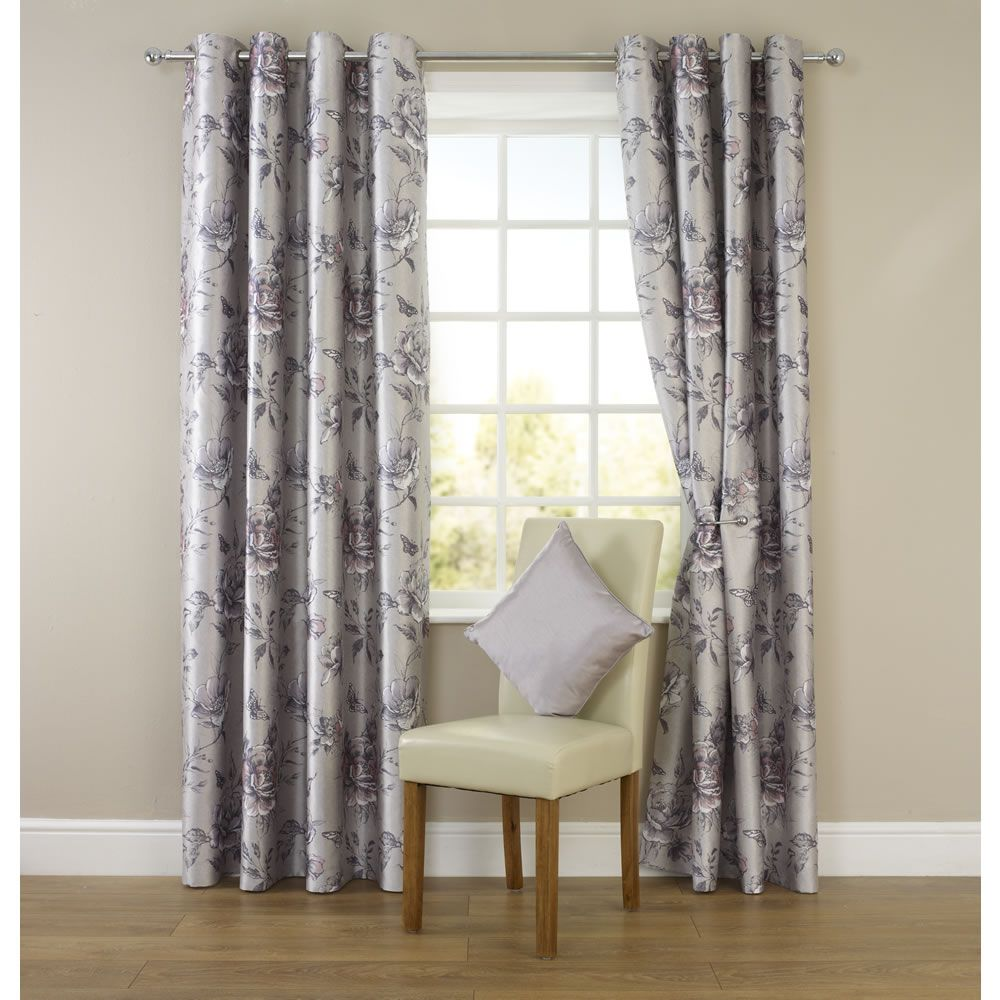 Silver Curtains For Bedroom Wilko Floral Eyelet Curtains Silver 167cm X 137cm Bedroom