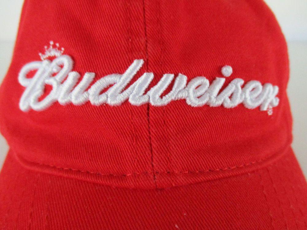 BUDWEISER Red Baseball Cap Hat Adjustable Beer Brewing Bud Brewery King   AnheuserBusch  BaseballCap 97a165a43a6a