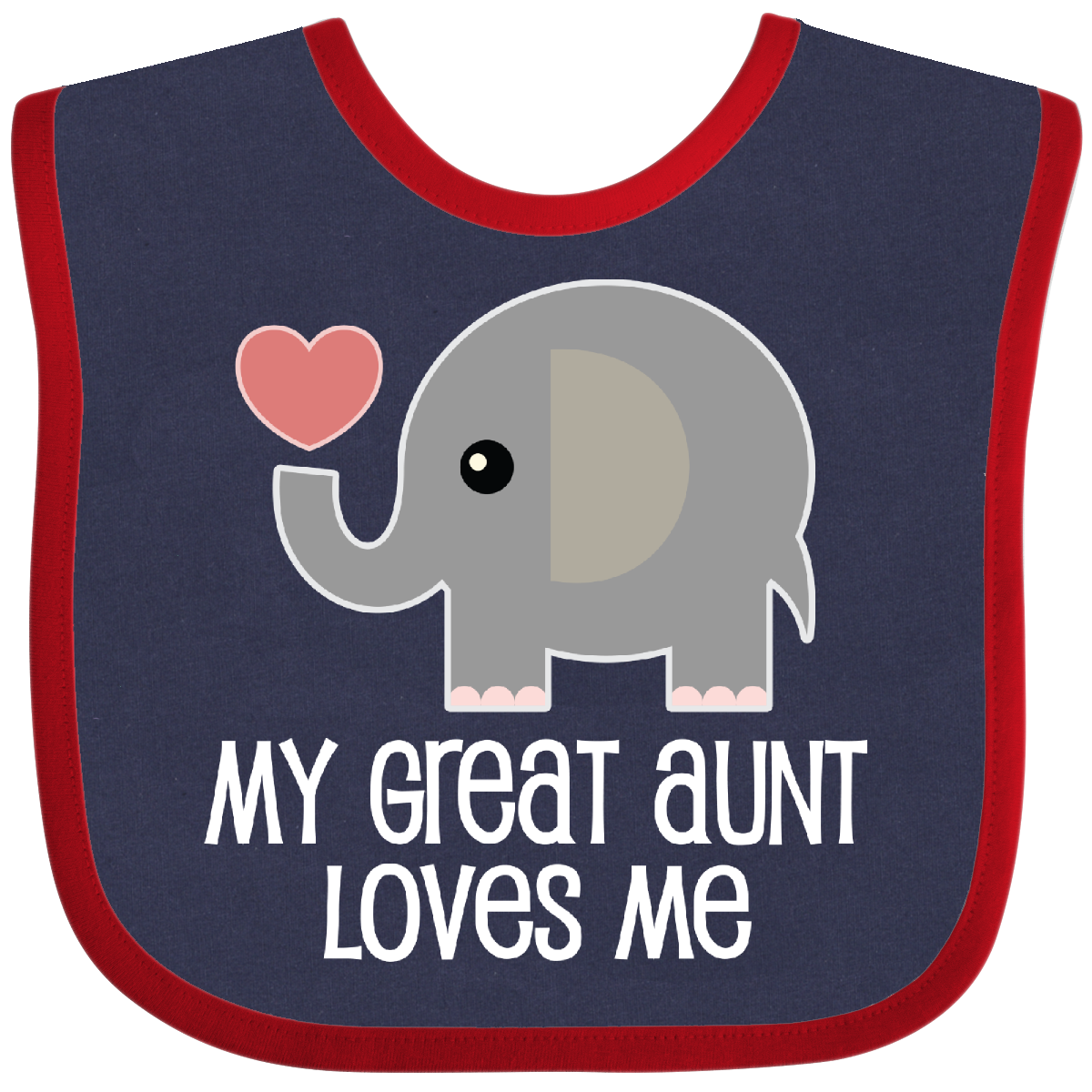 Great Aunt Loves Me Elephant Baby Bib Navy And Red 12 99 Www