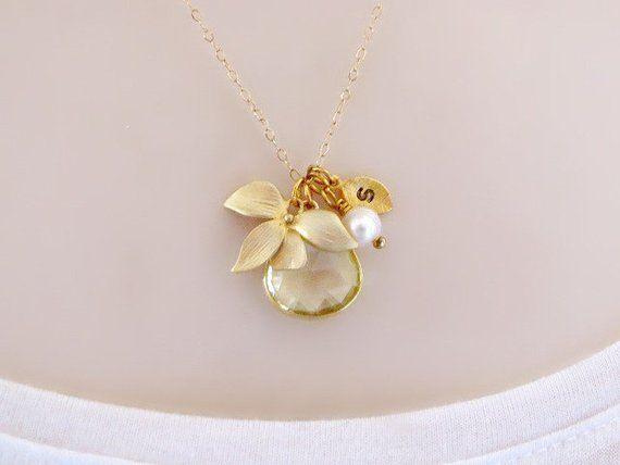 Lemon Quartz Necklace, Orchid Flower Necklace, Gold Initial Necklace, Dainty Stone Necklace, Novembe #quartznecklace