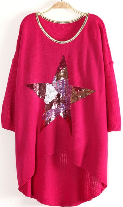 Rose Red Three Quarter Sleeve Star Sequined Oversize Sweater US$33.43