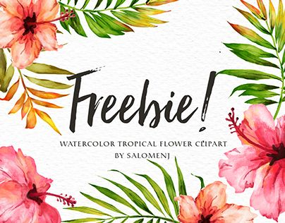 Freebie Watercolor Tropical Flower Free Watercolor Flowers