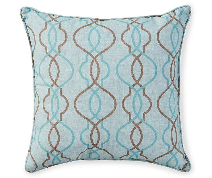 Aqua Brown Lattice Outdoor Throw Pillow 17 X 17 At Big Lots
