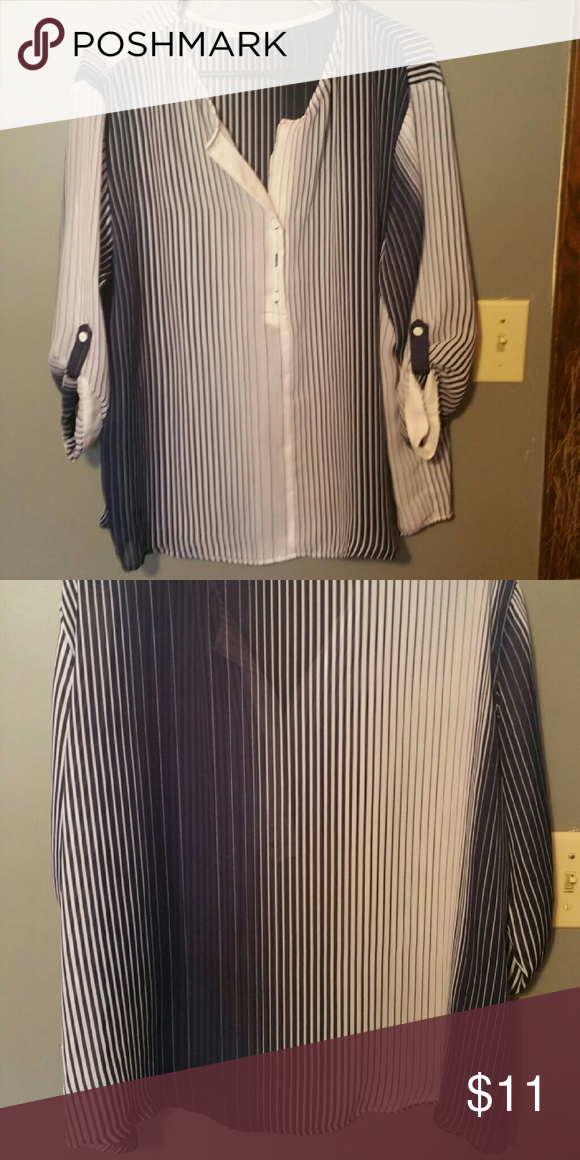 Flowy tunic w/ navy blue vertical stripes. Size L, sheer tunic with navy blue and white vertical striped pattern. Super comfy, perfect with leggings! Tops Tunics