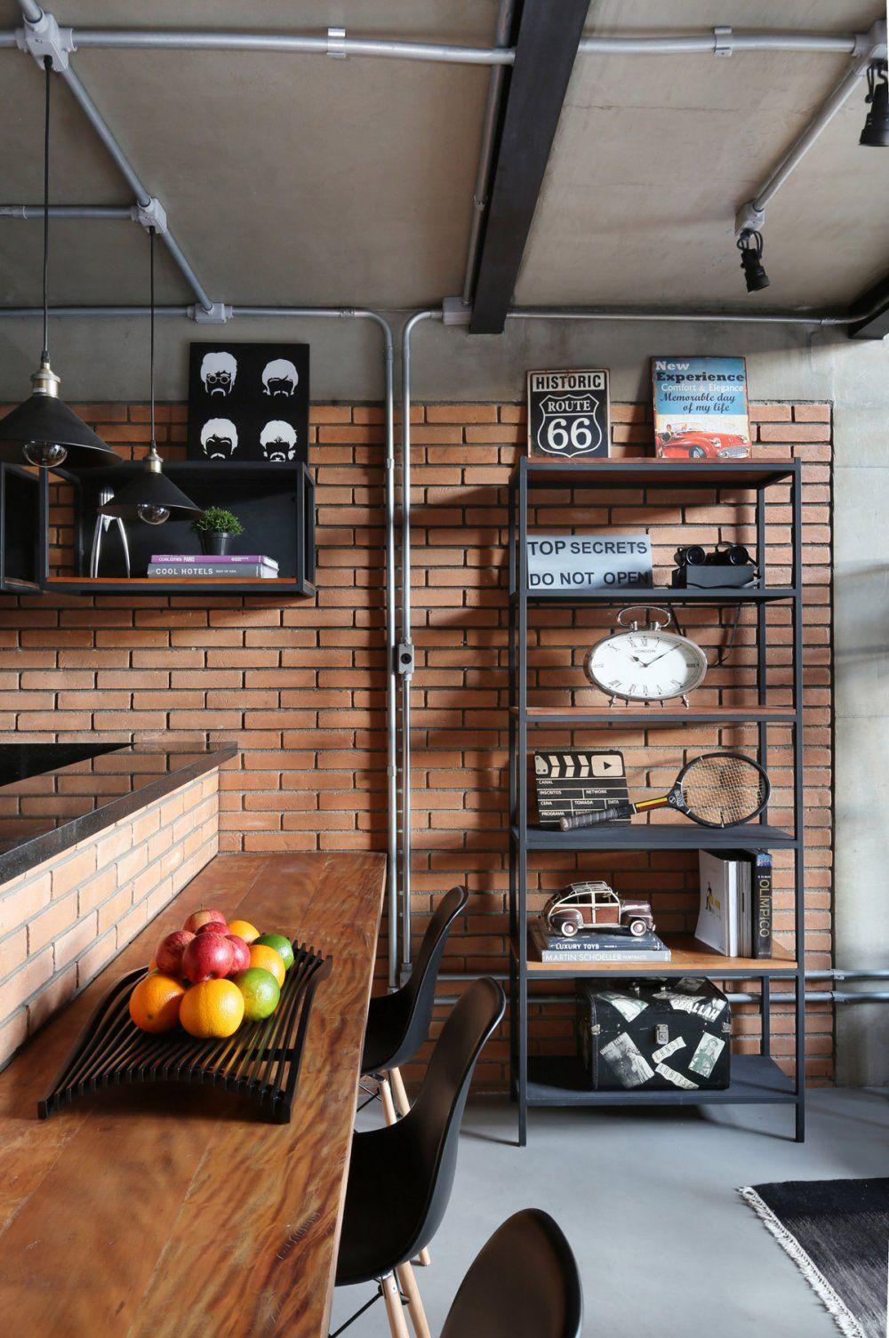 Apartamento M F Projeto Da Cozinha Industrial Decoracao Industrial Designs De Cozinha
