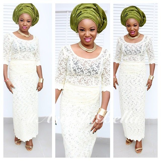 43c23315216d08 White Lace Blouse & Wrapper & Olive Green Gele | Fashion | African ...