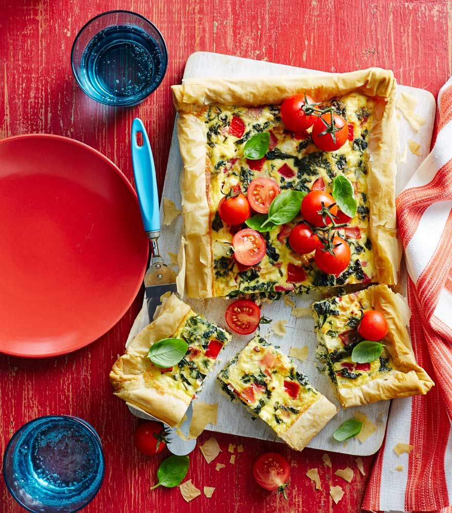 The perfect go-to dish for summer entertaining. Creamy ham, egg and veggie tart! Recipe from Diabetic Living on the Domayne Style Insider Blog