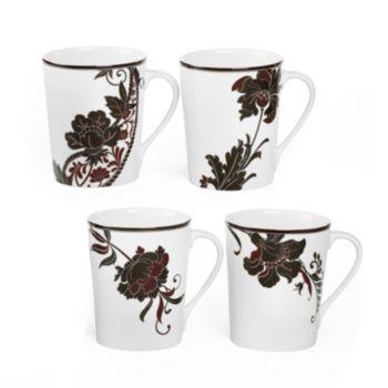 Mikasa Cocoa Blossom 4-pc. Mug Set